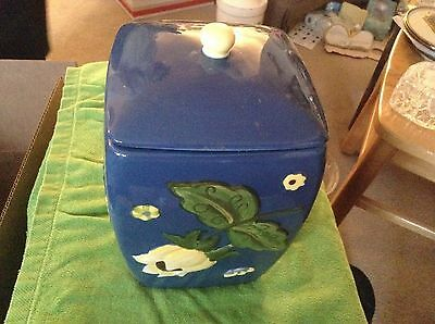 Hand painted for Nonni's blue ceramic cookie jar