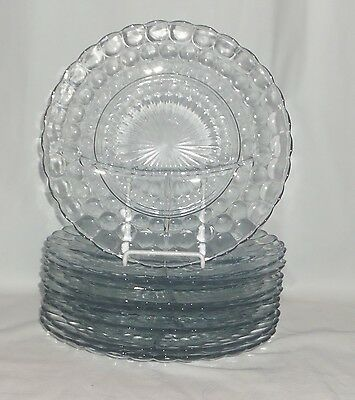 """8 Anchor Hocking BUBBLE BLUE *9 3/8"""" GRILL PLATES*"""