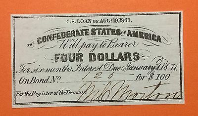 1861 $4 US Confederate States of America! Choice VF! Old US! Genuine!