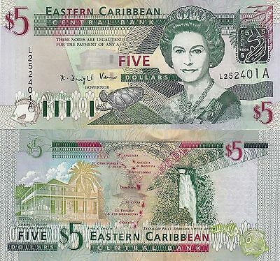 East Caribbean (Antigua) 5 Dollars - Green-Throated Carib/p42a UNC