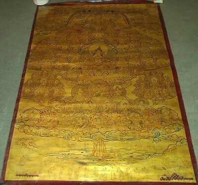 Huge old MasterPiece Tibetan Chinese Authntic Handpainted thangka oil Painting