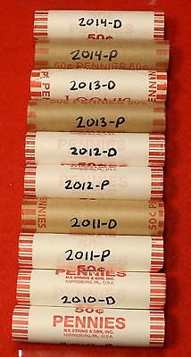 10 Rolls P&d One Each 2010 2011 2012 2013 2014 Lincoln Union Shield Cent Red Bu