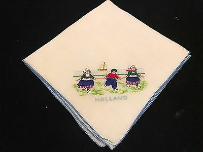 Vintage White Handkerchief w 3 Dutch Embroidered Children Holland Souvenir