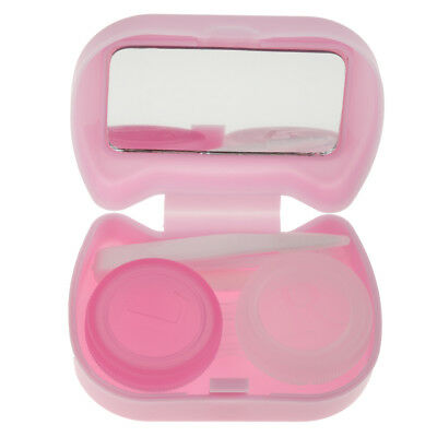 Cute Travel Contact Lens Storage Case Box Container Kit w/ Mirror Purple