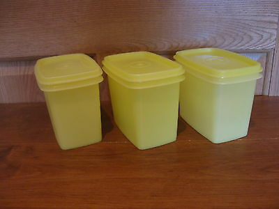 TUPPERWARE 3 vintage yellow shelf saver storage containers #1243
