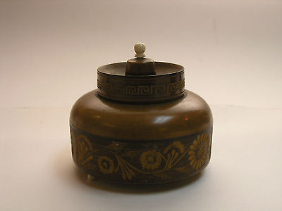 Antique European Treen Box - Floral & Greek Key Motif Carved Wood Round Footed