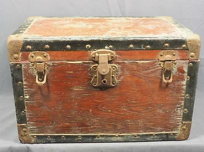 Vintage Antique Wood Steamer Trunk Box Small Size