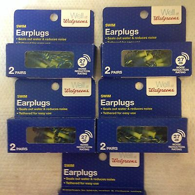 Lot Of 5 Boxes Swim Earplugs Seals Out Water 27 Db Tethered 10 Pairs Total