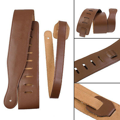 New Adjustable Soft Leather Thick Strap Brown for Electric Acoustic Guitar Bass