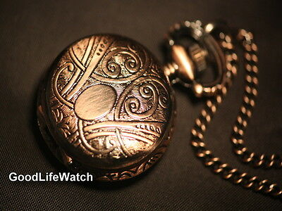 Amazing Vintage Design Oval Circle Life  Flower Necklace Lady Watch Gift WNS0023