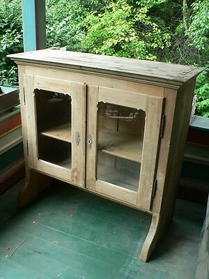 FINE 1800s ANTIQUE TOP PORTION HUTCH DISPLAY CABINET PINE UNFINISHED HANDMADE