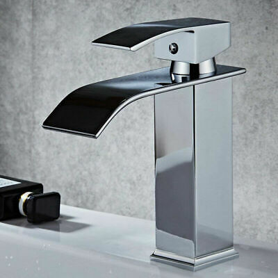 Waterfall Spout Bathroom Vanity Faucet Basin Mixer Tap Single Hole Chrome Brass
