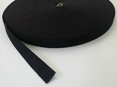 20mm - 2cm - Black poly webbing / Strapping. 1 - 50 meter lengths