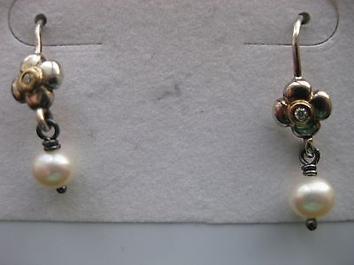 Authentic Pandora Sterling  & 14K Gold Posey Pearl Diamond Earrings #29225DP