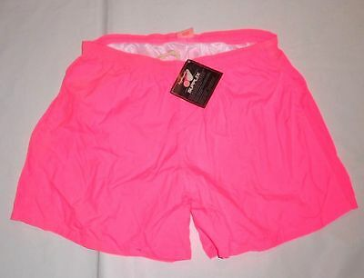 "VTG NWT 90s ""Cobblestones"" XL Swim Shorts Hot Pink Neon Supplex Nylon Lined"