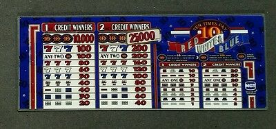 IGT S2000 Slant Top Slot Machine TEN TIMES PAY RED WHITE & BLUE Glass