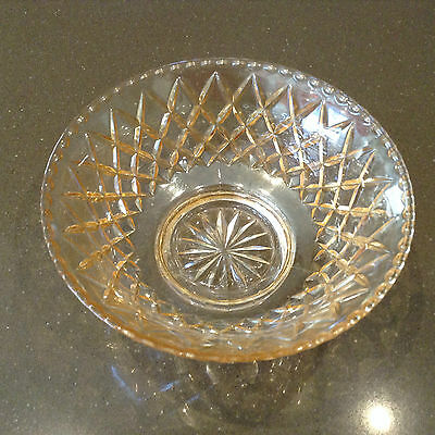 Heavy Vintage Cut Glass Round Salad Bowl