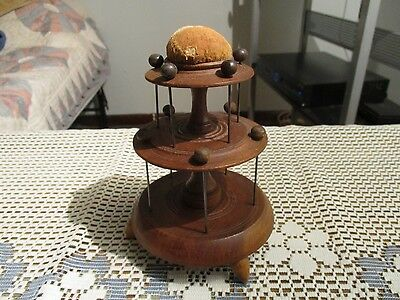 Antique Turned Spool Holder Caddy with Pin Cushion