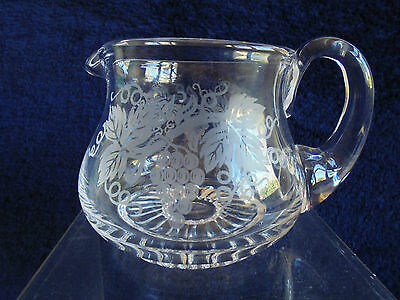 Vintage English Stuart Crystal Jug Grape And Vine
