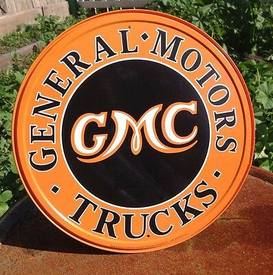 GENERAL MOTORS GMC TRUCKS Round Collectible Tin Metal Classic Sign Poster Garage