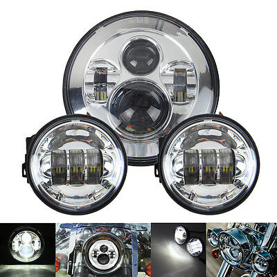 """7"""" Round LED Projector Daymaker Headlight+2x4.5'' Passing Lights For Harley"""