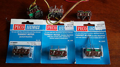 Peco Switch/point Motors 3 X New, 3 X Good Used Boxed N Ho Oo Gauge (G)