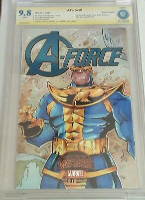 A-Force # 1CBCS 9.8 Blank Variant Not CGC  Thanos  Sketch by RB White