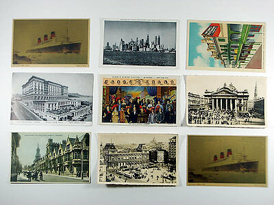 9 x RARE VINTAGE POSTCARDS / QUEEN MARY SHIP / OXFORD / NEW YORK CITY...AND MORE