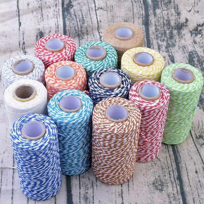 100m Bakers Coloured Twine Bundle 100% Cotton Best Quality String Ribbon Craft