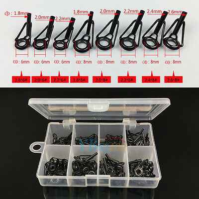 80Pcs Stainless Steel Fishing Rod Guide Tip Repair Part Eye Ring Set With Box SS