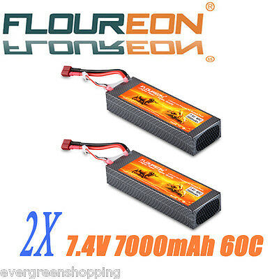 2X 7000mAh 7.4V 60C 2S2P Lipo RC Battery Pack Deans for RC Helicopter Car Hobby