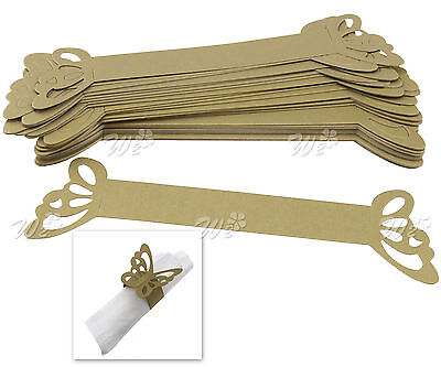 50 x Gold Butterfly Napkin Ring Serviette Holder Banquet Table Decor Party Set