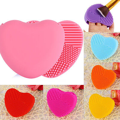 Heart Shape Silicone Make Up Brush Cleaner Scrubber Cosmetic Washing Mat Pad 365