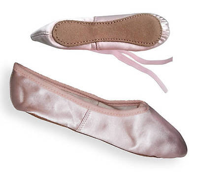 Pink Satin Ballet Dance Shoes with Full Suede Sole, Infant 5 up to Adult 8