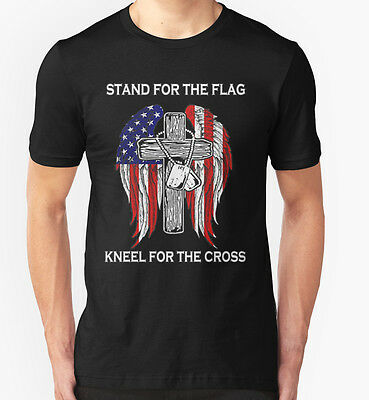 NEW Stand for the flag kneel for the cross Black Tshirt Size S-2XL
