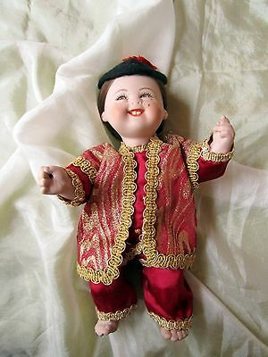 Rare laughing Asian ethnic  Boy porcelain art doll -marked Cleo