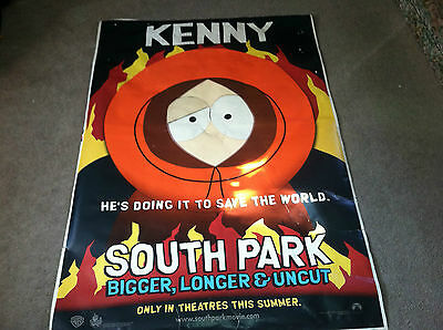 "RARE SOUTH PARK MOVIE PROMO POSTER.KENNY ,BIGGER,LONGER & UNCUT 1999 48"" x 70"""