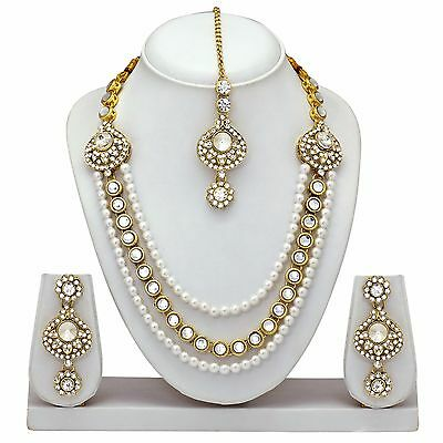 Indian Bollywood Style Fashion Gold plated Wedding Necklace Earrings Jewelry Set