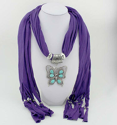 Purple Butterfly Turquoise Jewelry Scarves Thermal Shawls Pendants