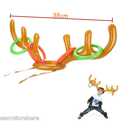 Birthday Holiday Party Game INFLATABLE REINDEER ANTLER HAT RING TOSS for Kids