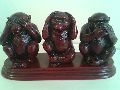 Vintage Three Wise Monkeys Figurine Ornament Heavy W824g