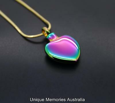 316L Stainless Steel Rainbow Reflections Heart Cremation Keepsake Urn Pendant