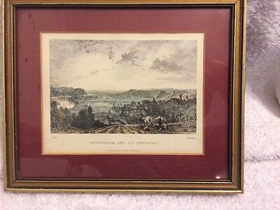 Antique HandColoured Topographical Print Nottingham And Its Environs 19th C