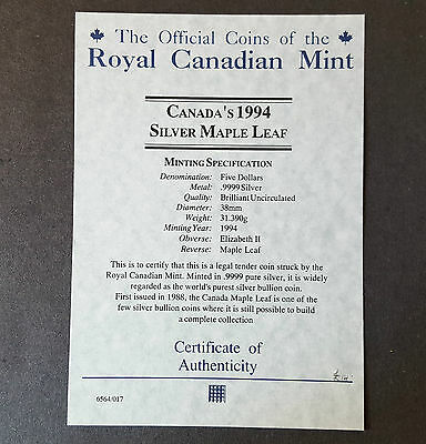 CERTIFICATE of AUTHENTICITY - CANADA'S 1994 SILVER MAPLE LEAF 5$ COIN