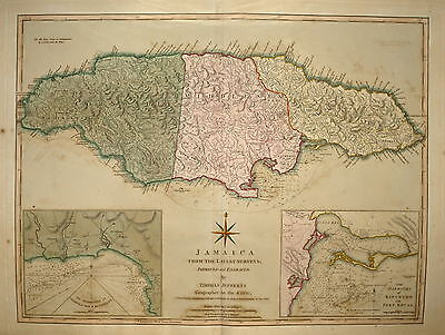 Jamaica From The Latest Surveys..by Thomas Jefferys 1810.