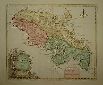 Martinique. Het Westindisch Eiland Martenique By Tirion. Amsterdam 1765.