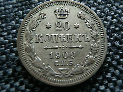 RUSSIAN EMPIRE SILVER 20 kopek 1909