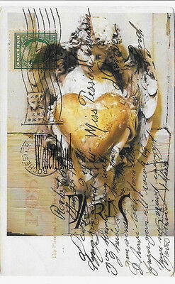 ANGEL GOLDEN HEART GREEN STAMP POSTCARD COLLAGE*Quilt * Fabric block*5X7 INCH