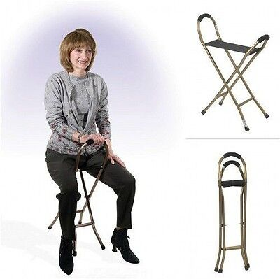 Walking Cane With Resting Seat Portable Elderly Foldable Mobility Chair Handles