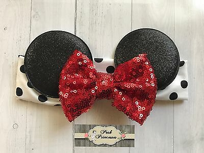 Minnie Mouse Ears Baby Headband, Red Sequin Bow Headband,